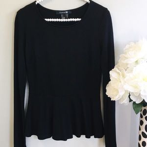 Forever 21 Black Peplum Top, Size Large